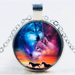 Wolves and horses poly resin necklace